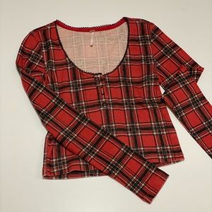 Free people red plaid striped cropped top